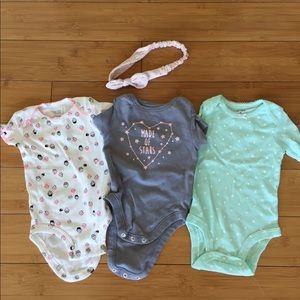 Lot of Three Onesies Baby Girl 3mo